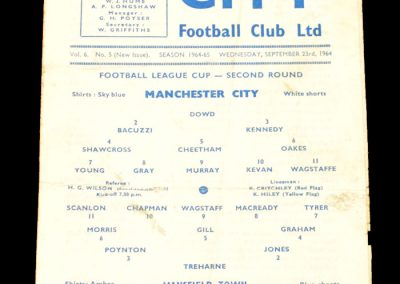 Mansfield Town v Manchester City 23.09.1964 | League Cup 2nd Round