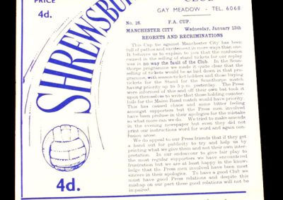 Shrewsbury Town v Manchester City 13.01.1965 | FA Cup 3rd Round replay