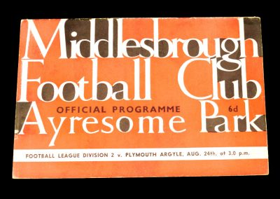 Plymouth Argyle v Middlesbrough FC 24.08.1963
