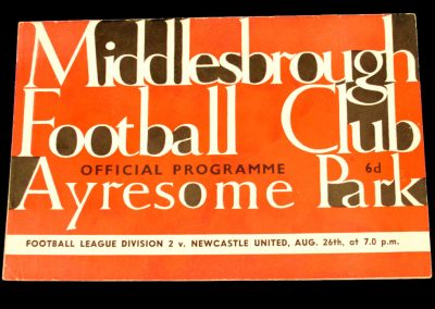 Newcastle United v Middlesbrough FC 26.08.1963