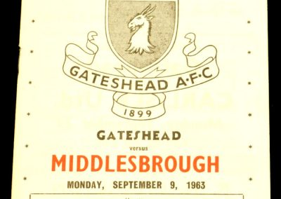 Gateshead v Middlesbrough 09.09.1963