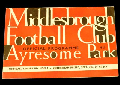 Rotherham United v Middlesbrough FC 09.09.1963