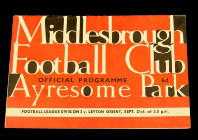 Middlesbrough FC v Layton Orient 21.09.1963