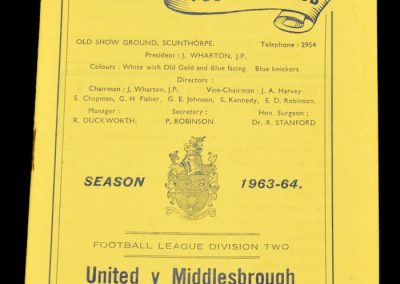 Scunthorpe United v Middlesbrough 19.10.1963