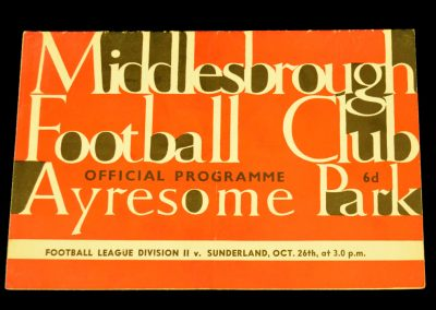 Sunderland v Middlesbrough 26.10.1963