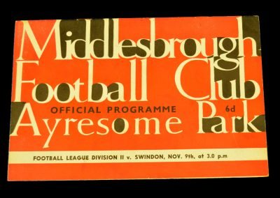 Swindon Town v Middlesbrough 09.11.1963