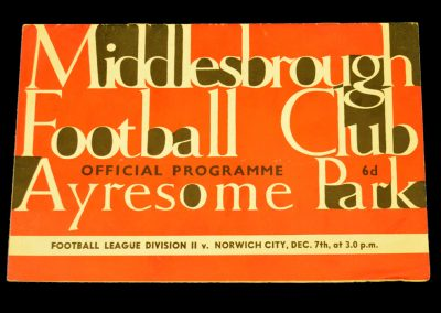 Norwich v Middlesbrough 07.12.1963