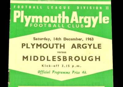 Plymouth Argyle v Middlesbrough 14.12.1963