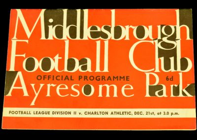 Charlton Athletic v Middlesbrough 21.12.1963