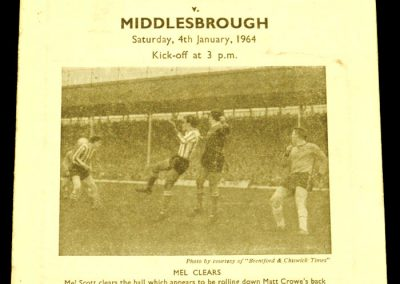 Brentford v Middlesbrough 04.01.1964 | FA Cup 3rd Round