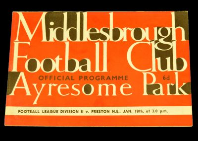 Middlesbrough v Preston North End 18.01.1964