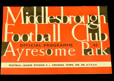 Middlesbrough v Swansea Town 08.02.1964