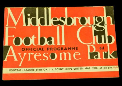 Middlesbrough v Scunthorpe United 28.03.1964