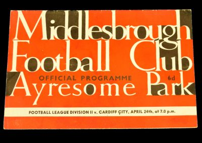 Middlesbrough v Cardiff City 24.04.1964