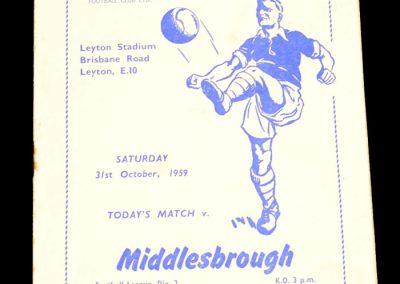 Leyton Orient v Middlesbrough 31.10.1959