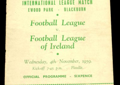 English v Eire League 04.11.1959 | International League Match