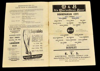 Birmingham City v Burnley 27.04.1960