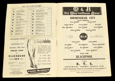 Birmingham City v Blackpool 21.11.1959