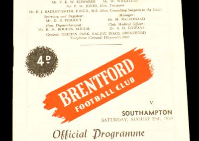 Southampton v Brentford 29.08.1959