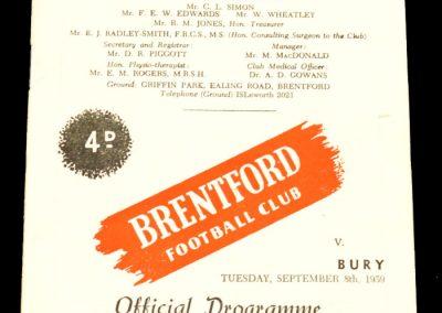 Bury v Brentford 08.09.1959