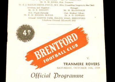 Tranmere Rovers v Brentford 10.10.1959