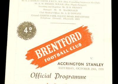 Accrington Stanley v Brentford 24.10.1959