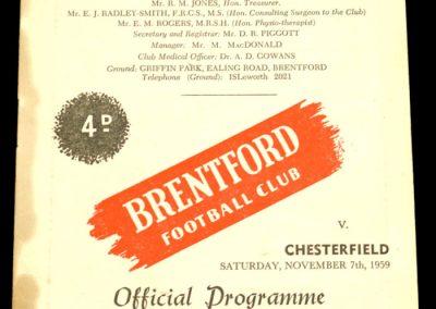 Chesterfield v Brentford 07.11.1959   Abandoned