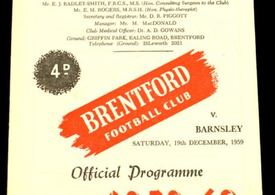Barnsley v Brentford 19.12.1959