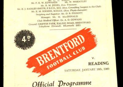 Reading v Brentford 16.01.1960