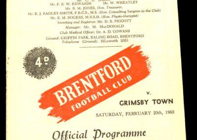 Grimsby Town v Brentford 20.02.1960