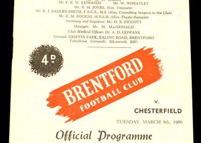 Chesterfield v Brentford 08.03.1960