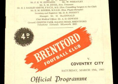 Coventry City v Brentford 19.03.1960