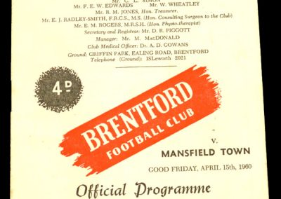Mansfield Town v Brentford 15.04.1960