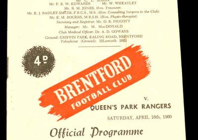 Queen's Park Rangers v Brentford 16.04.1960