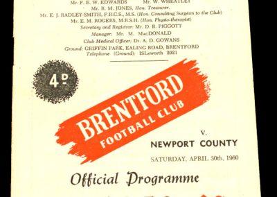 Newport County v Brentford 30.04.1960