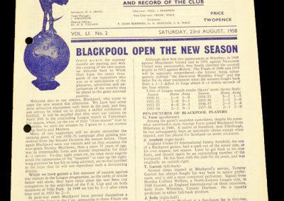 Tottenham Hotspur v Blackpool 23.08.1958
