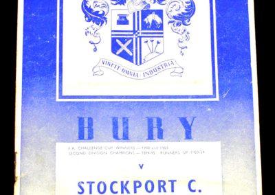Bury v Stockport 26.08.1958
