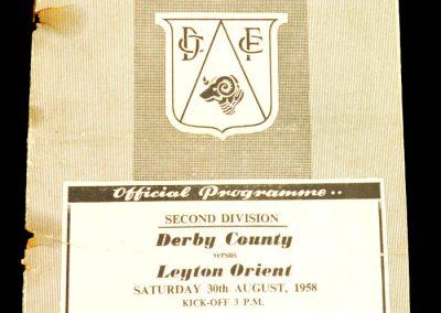 Derby County v Leyton Orient 30.08.1958