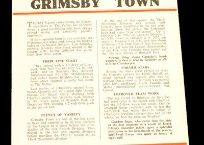 Charlton Athletic v Grimsby Town 06.09.1958