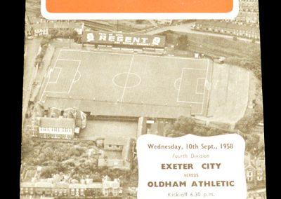 Exeter v Oldham 10.09.1958