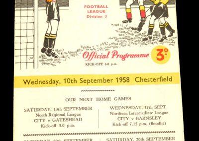 Bradford City v Chesterfield 10.09.1958