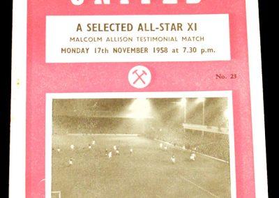 West Ham United v All Stars 17.11.1958 | Testimonial Match