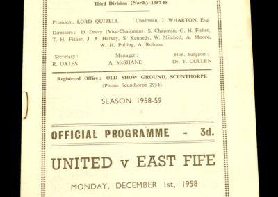 Scunthorpe v East Fife 01.12.1958