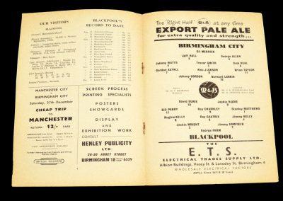 Birmingham v Blackpool 13.12.1958