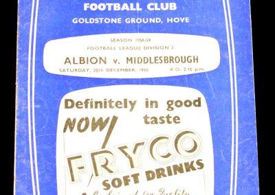 Brighton & Hove Albion v Middlesbrough 20.12.1958