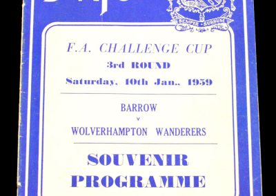 Barrow v Wolves 10.01.1959 | FA Cup 3rd Round