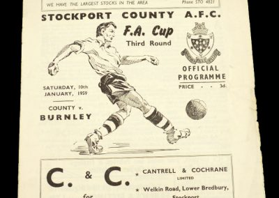 Stockport County v Burnley 10.01.1959 | FA Cup 3rd Round
