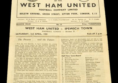 West Ham United v Ipswich Town 02.04.1955