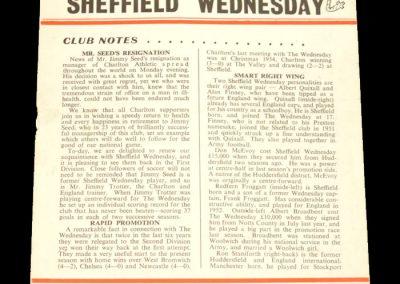 Charlton Athletic v Sheffield Wednesday 08.09.1956