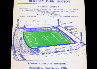 Bolton Wanderers v Burnley 19.11.1960
